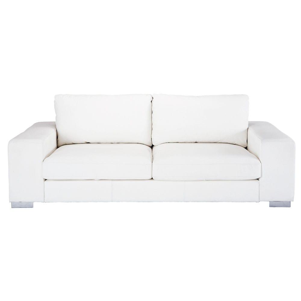 Canap 3 4 places en cuir blanc new york maisons du monde - Canape lit maison du monde ...