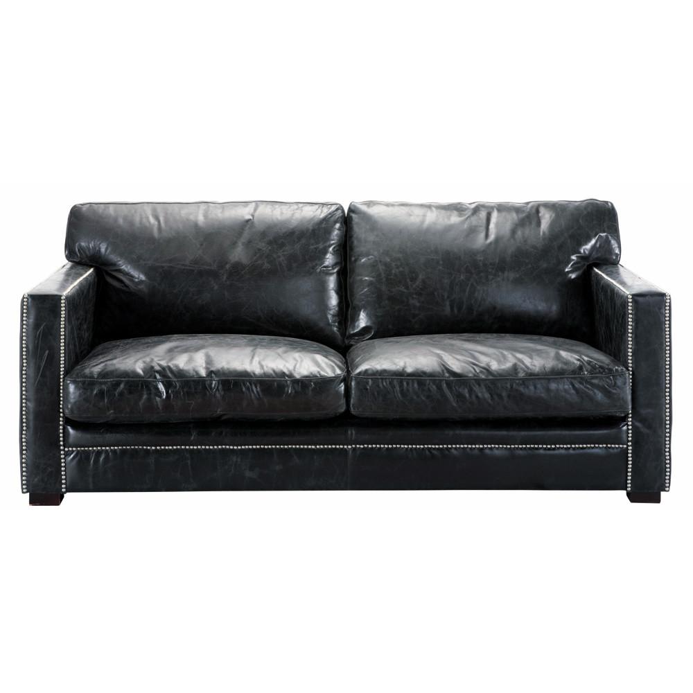 canap 3 4 places en cuir noir dandy maisons du monde. Black Bedroom Furniture Sets. Home Design Ideas