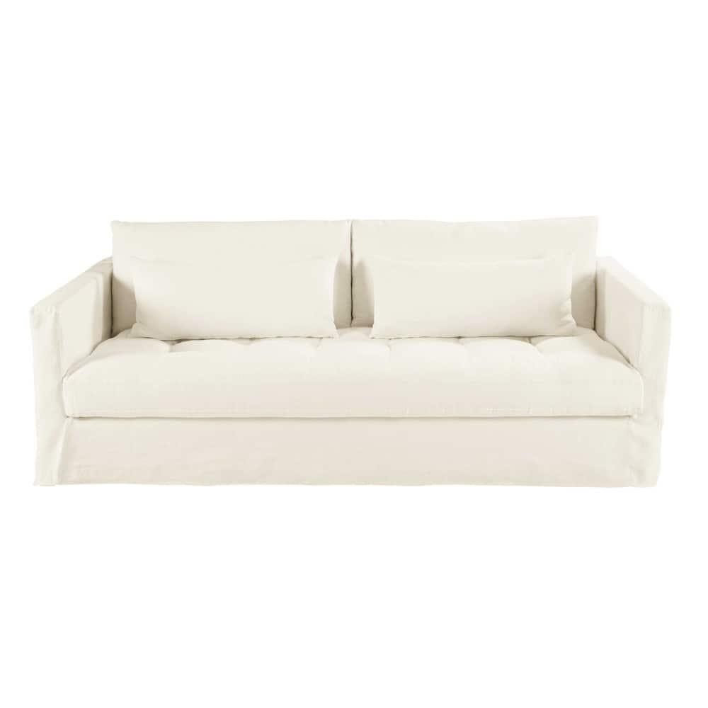 Canap 3 4 places en lin lav blanc basile maisons du monde - Canape en lin blanc ...