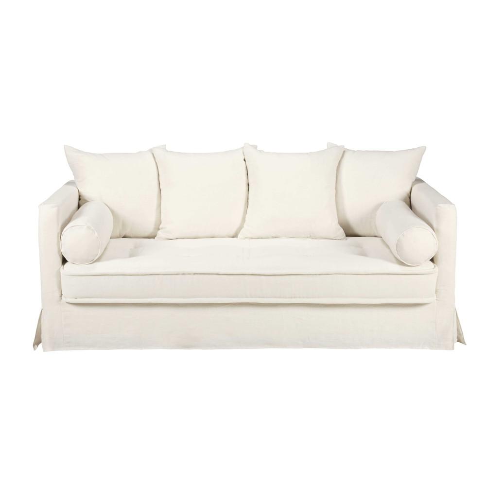Canap 3 4 places en lin lav blanc matangi maisons du monde - Canape en lin blanc ...