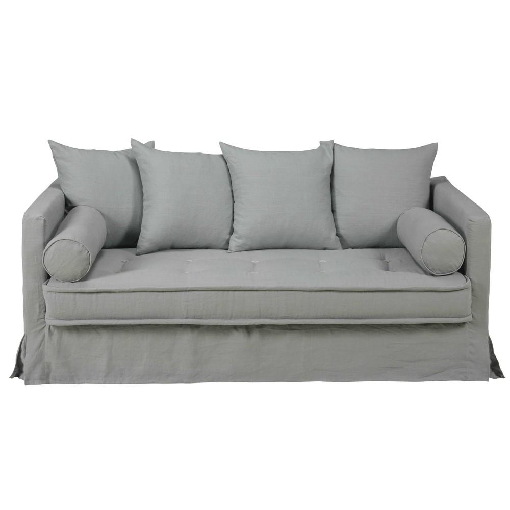 canap 3 4 places en lin lav gris clair matangi maisons du monde. Black Bedroom Furniture Sets. Home Design Ideas