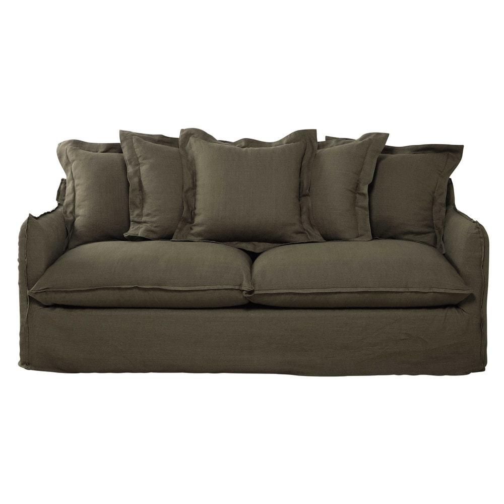 canap 3 4 places en lin lav vert olive barcelone maisons du monde. Black Bedroom Furniture Sets. Home Design Ideas
