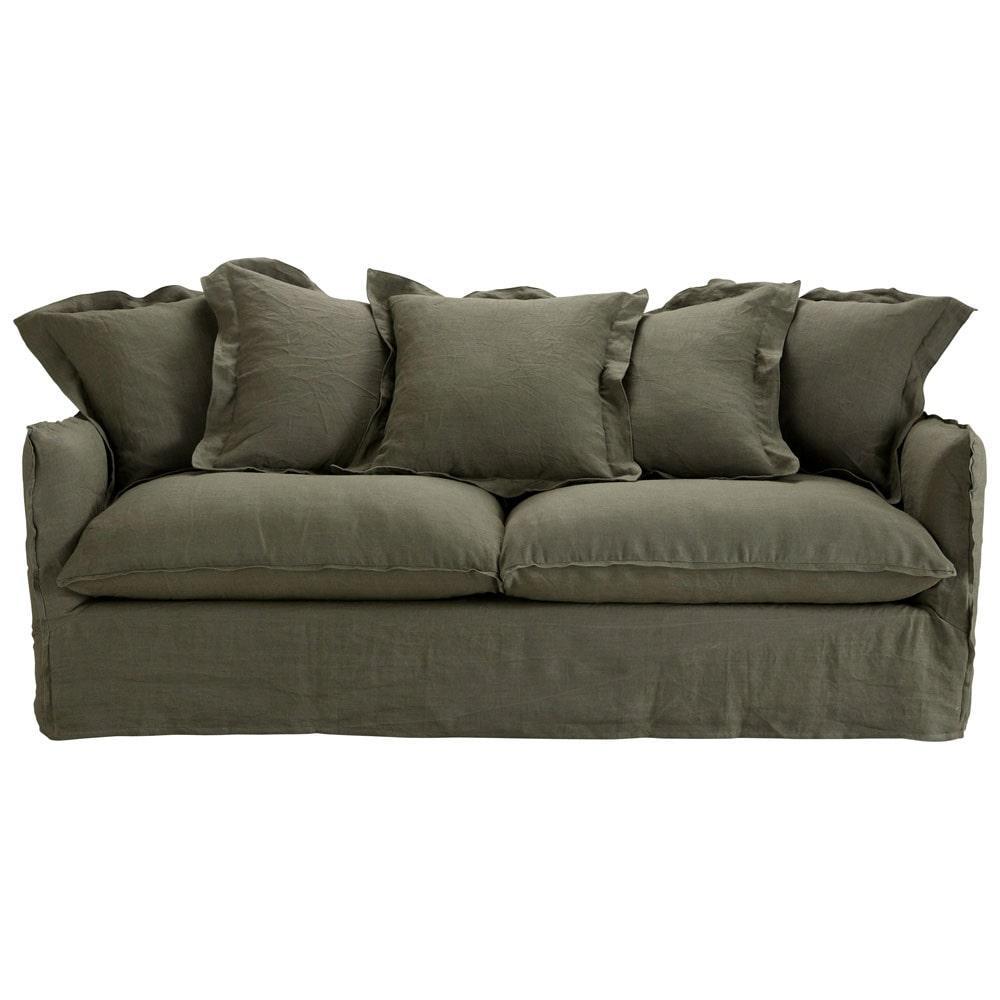 canap 3 4 places en lin marron barcelone maisons du monde. Black Bedroom Furniture Sets. Home Design Ideas