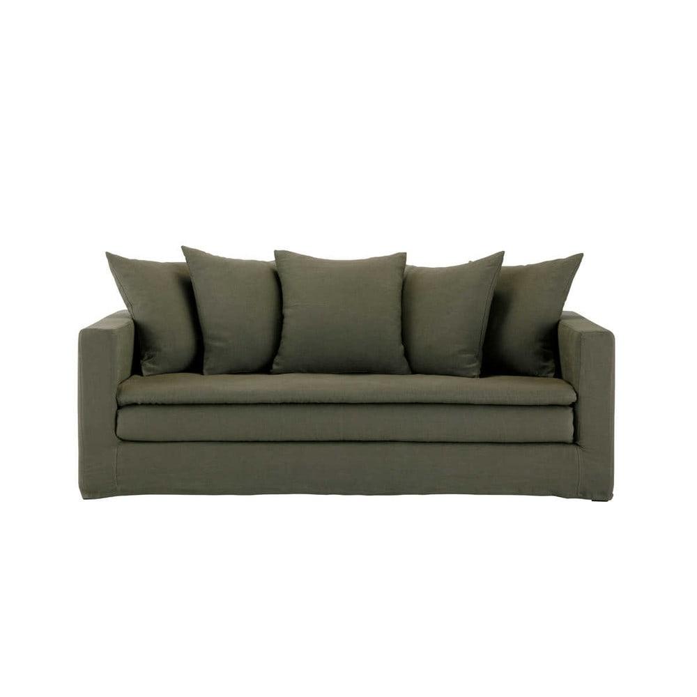 canap 3 4 places en lin marron olbia maisons du monde. Black Bedroom Furniture Sets. Home Design Ideas