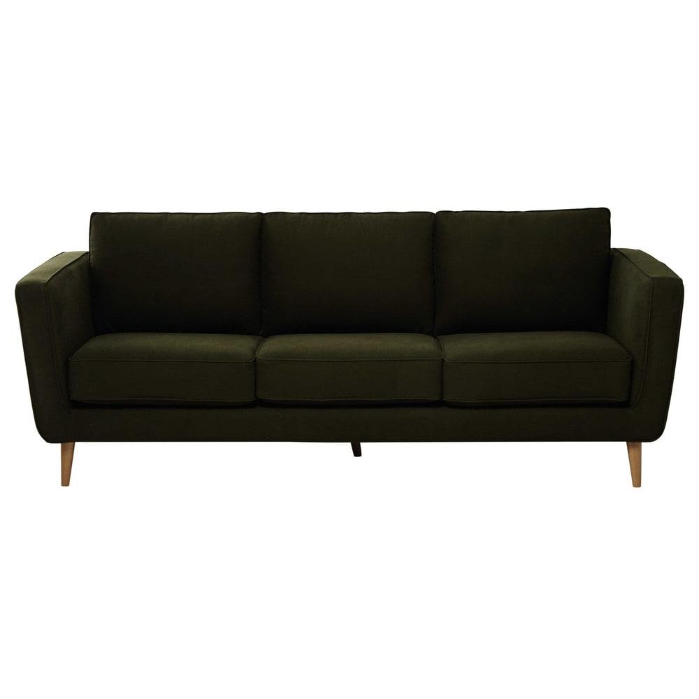 canap 3 4 places en tissu kendo kaki nils maisons du monde. Black Bedroom Furniture Sets. Home Design Ideas