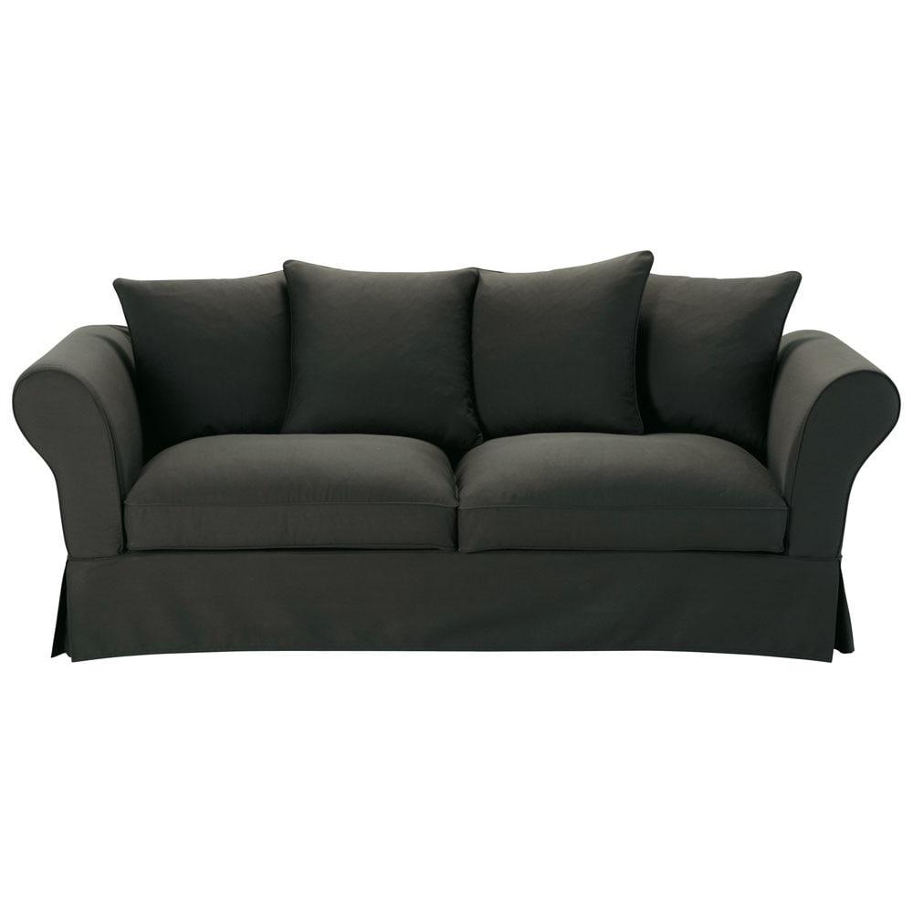 canap 3 4 places fixe coton anthracite roma maisons du. Black Bedroom Furniture Sets. Home Design Ideas