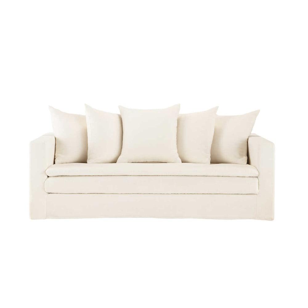 canap 3 4 places fixe lin lav cru olbia maisons du monde. Black Bedroom Furniture Sets. Home Design Ideas