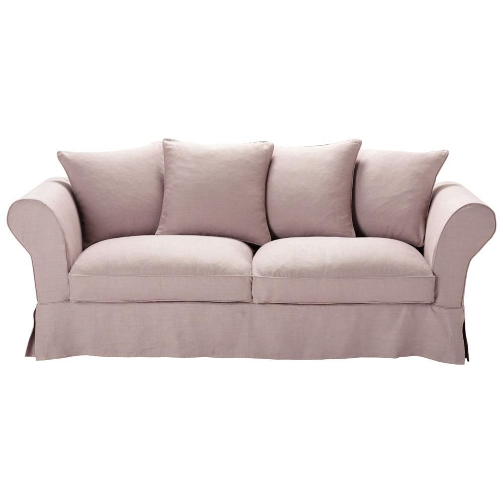 canap 3 4 places fixe lin vieux mauve roma maisons du monde. Black Bedroom Furniture Sets. Home Design Ideas