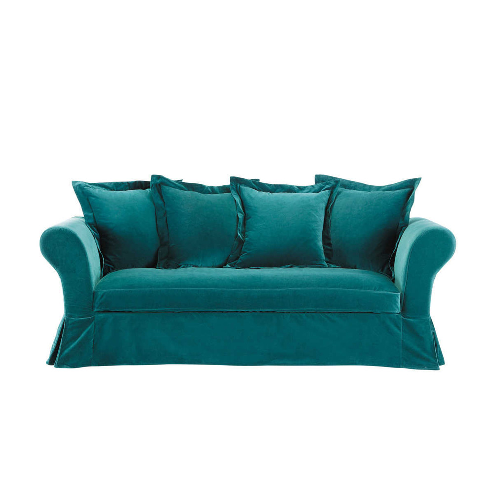 Canap 3 4 places fixe velours bleu velvet maisons du monde for Canape 4 places