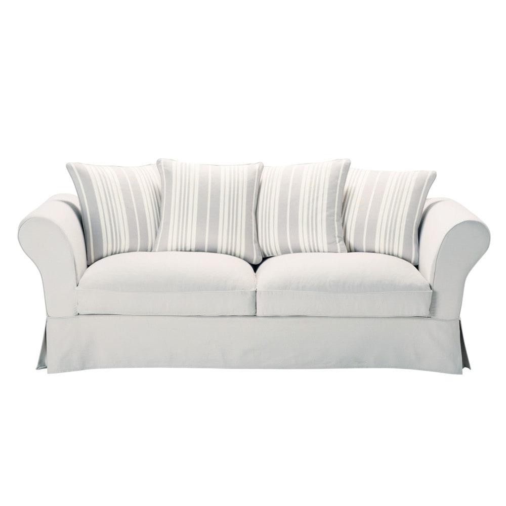 canap 3 4 places gris perle ray ivoire roma maisons du monde. Black Bedroom Furniture Sets. Home Design Ideas