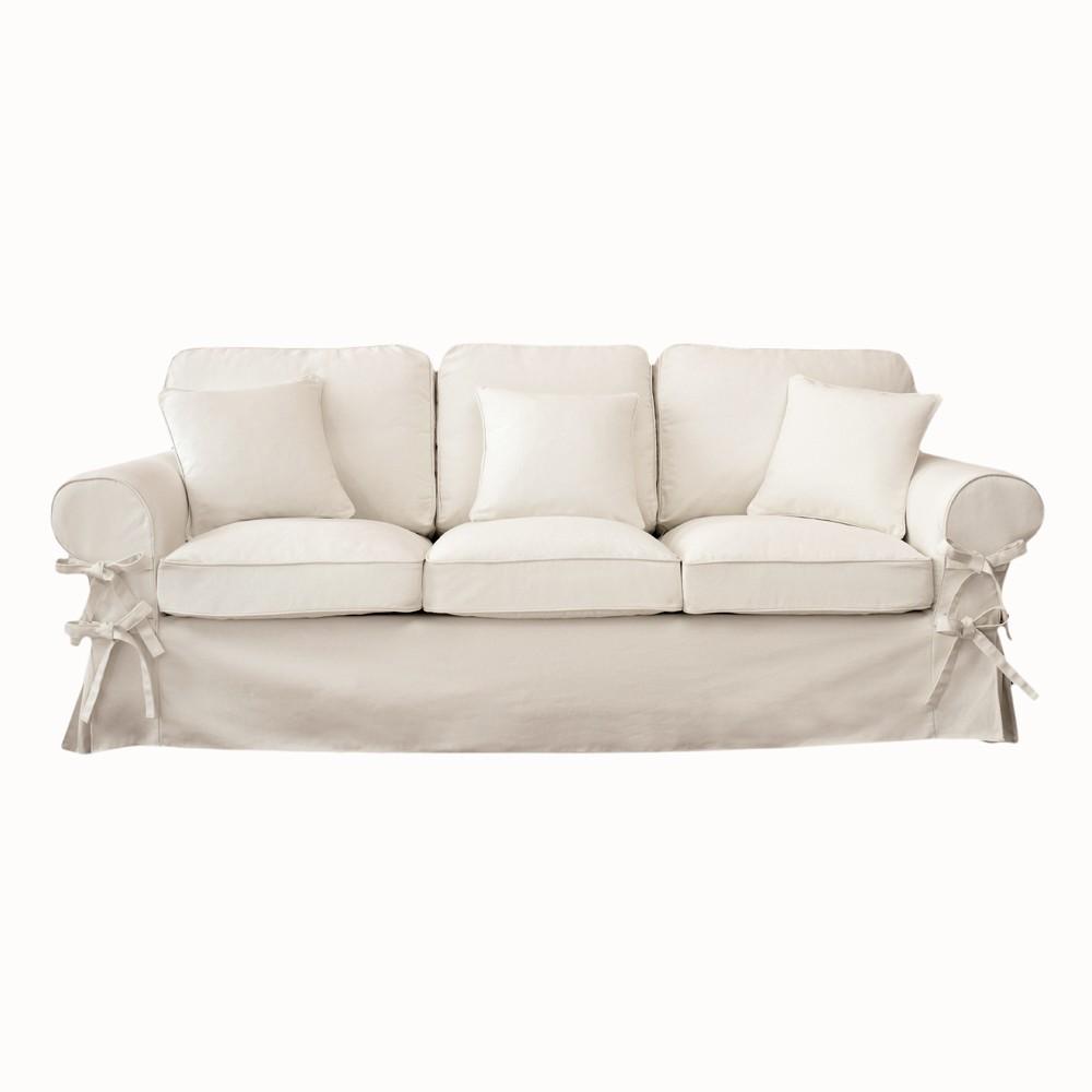 Canap 3 places en coton ivoire butterfly maisons du monde for Canape romantique