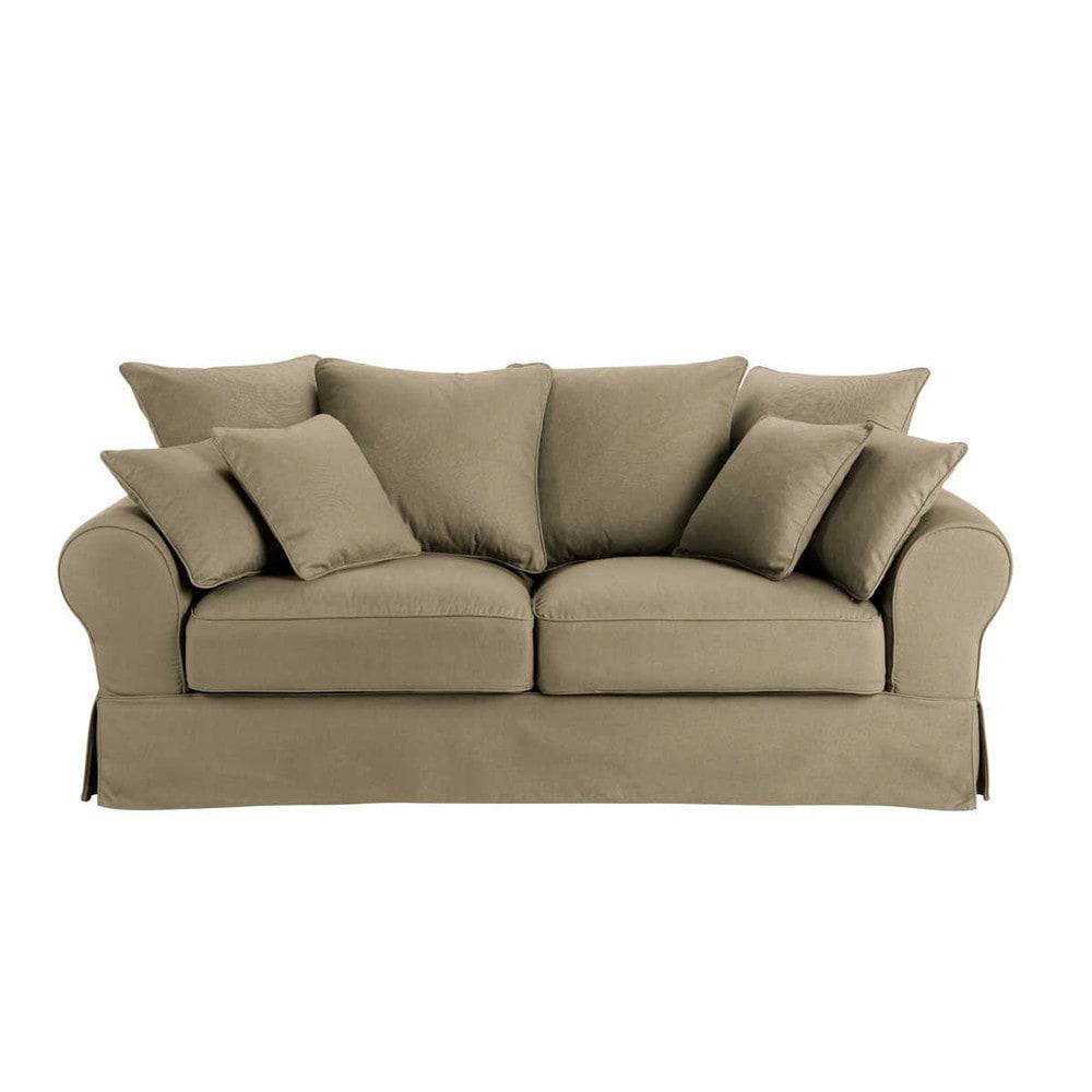 canap 3 places en coton taupe bastide maisons du monde. Black Bedroom Furniture Sets. Home Design Ideas