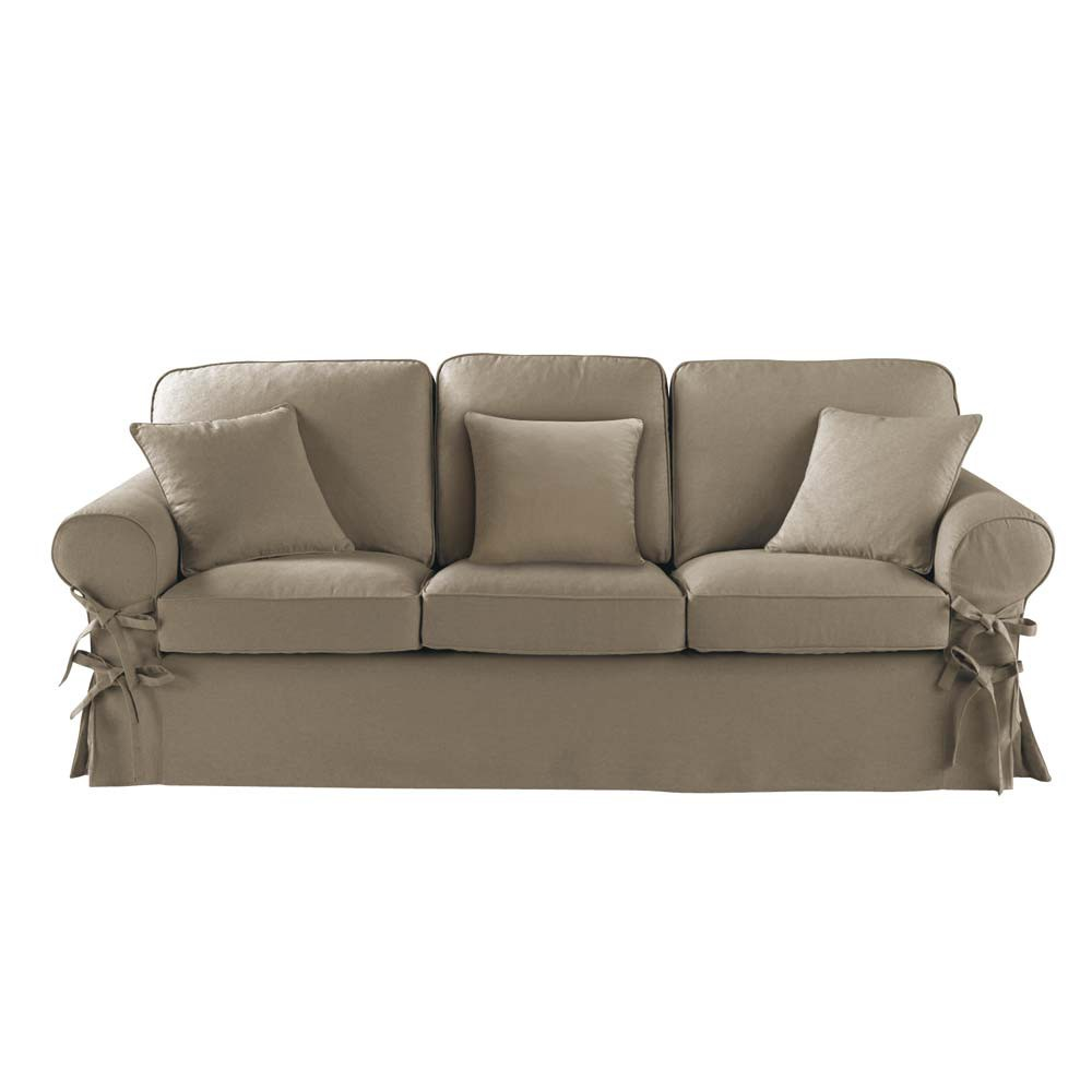 Canap 3 places en coton taupe butterfly maisons du monde - Dimension canape 3 places ...