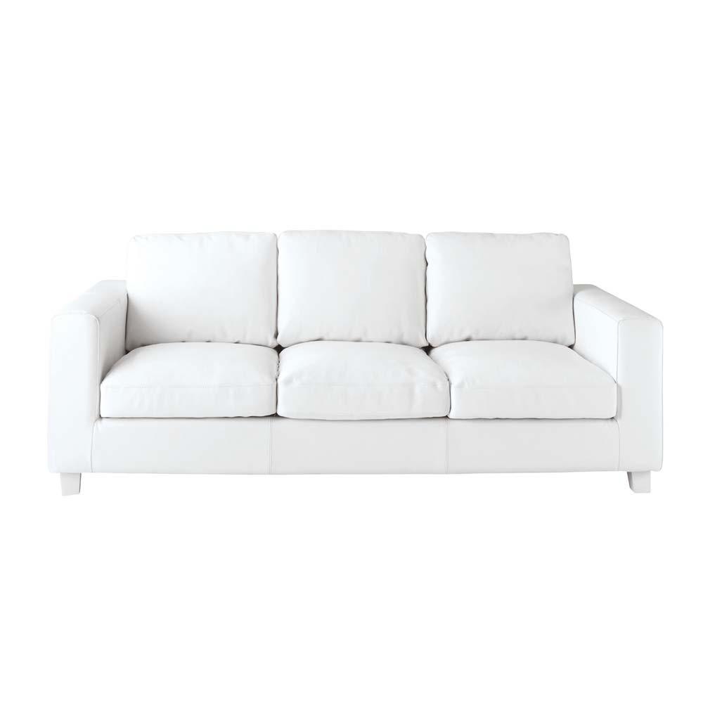 canap 3 places en cro te de cuir ivoire kennedy maisons du monde. Black Bedroom Furniture Sets. Home Design Ideas