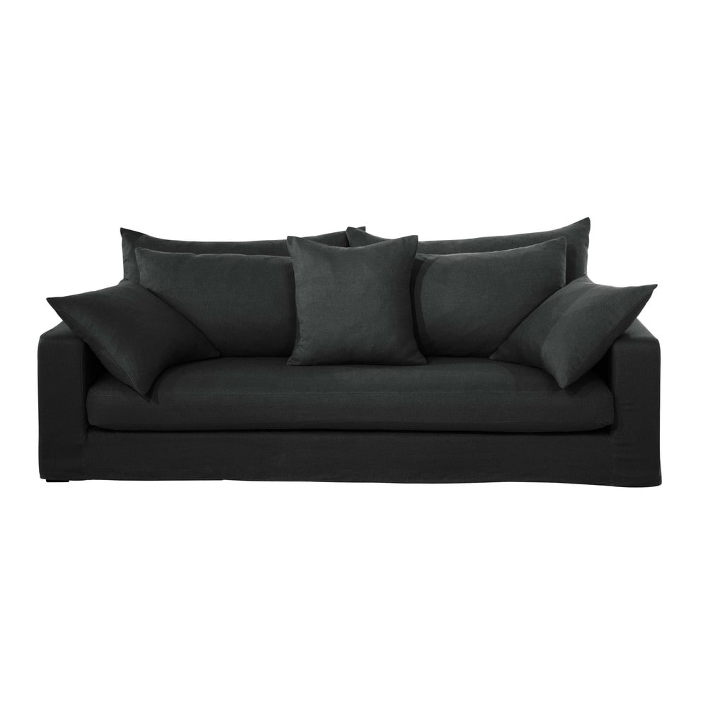 Canap 3 places en lin lav anthracite gaspard maisons for Canape dehoussable
