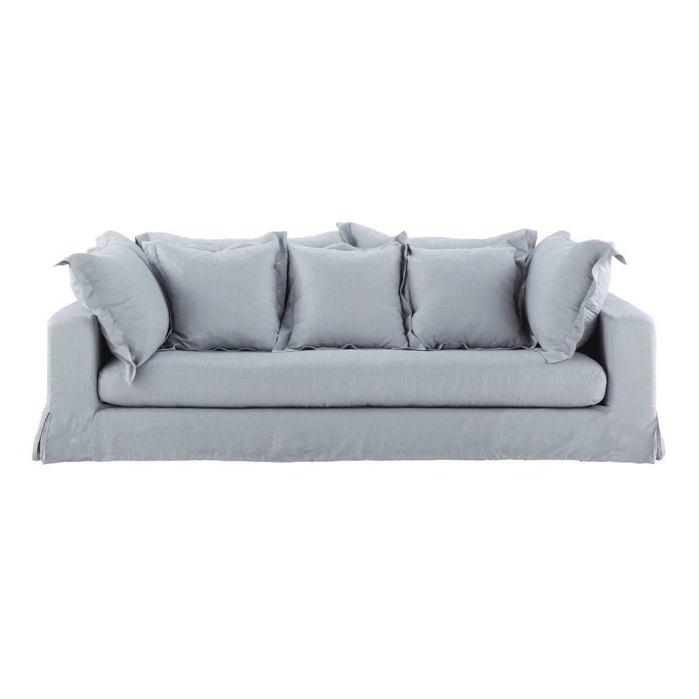 canap 3 places en lin lav bleu achille maisons du monde. Black Bedroom Furniture Sets. Home Design Ideas