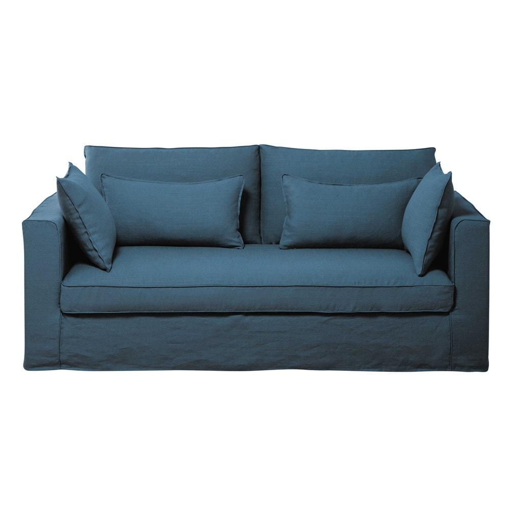 Canap 3 places en lin lav bleu canard zoe maisons du monde for Canape 8 places