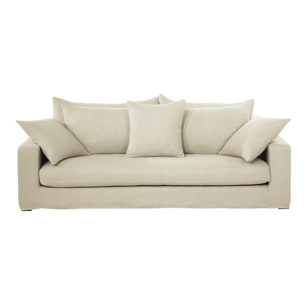 canap 3 places en lin lav ficelle gaspard maisons du monde. Black Bedroom Furniture Sets. Home Design Ideas