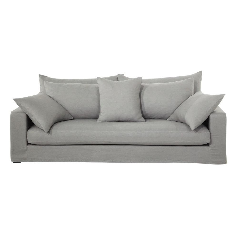 canap 3 places en lin lav gris clair gaspard maisons. Black Bedroom Furniture Sets. Home Design Ideas