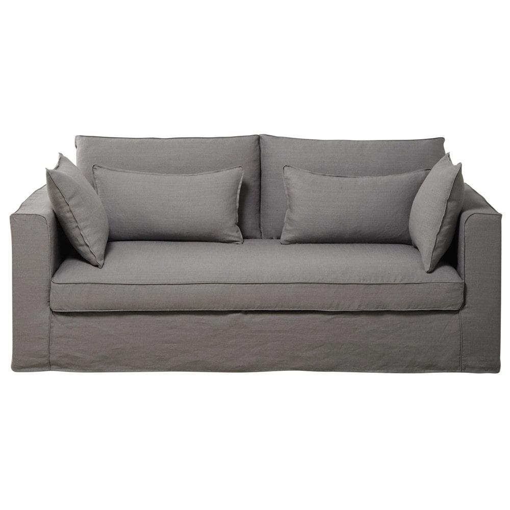 canap 3 places en lin lav gris clair zoe maisons du monde. Black Bedroom Furniture Sets. Home Design Ideas