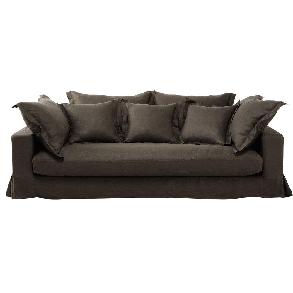 canap 3 places en lin lav marron glac achille maisons du monde. Black Bedroom Furniture Sets. Home Design Ideas