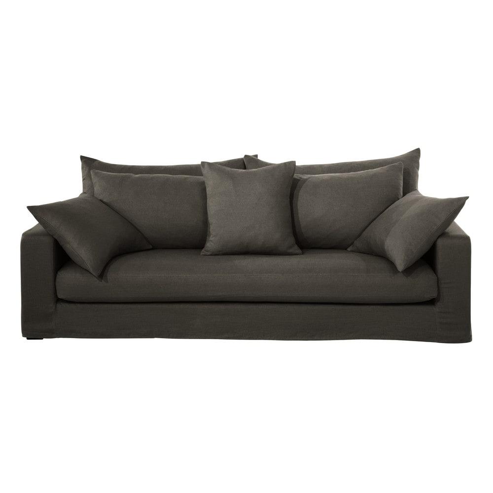 canap 3 places en lin lav marron glac gaspard maisons du monde. Black Bedroom Furniture Sets. Home Design Ideas