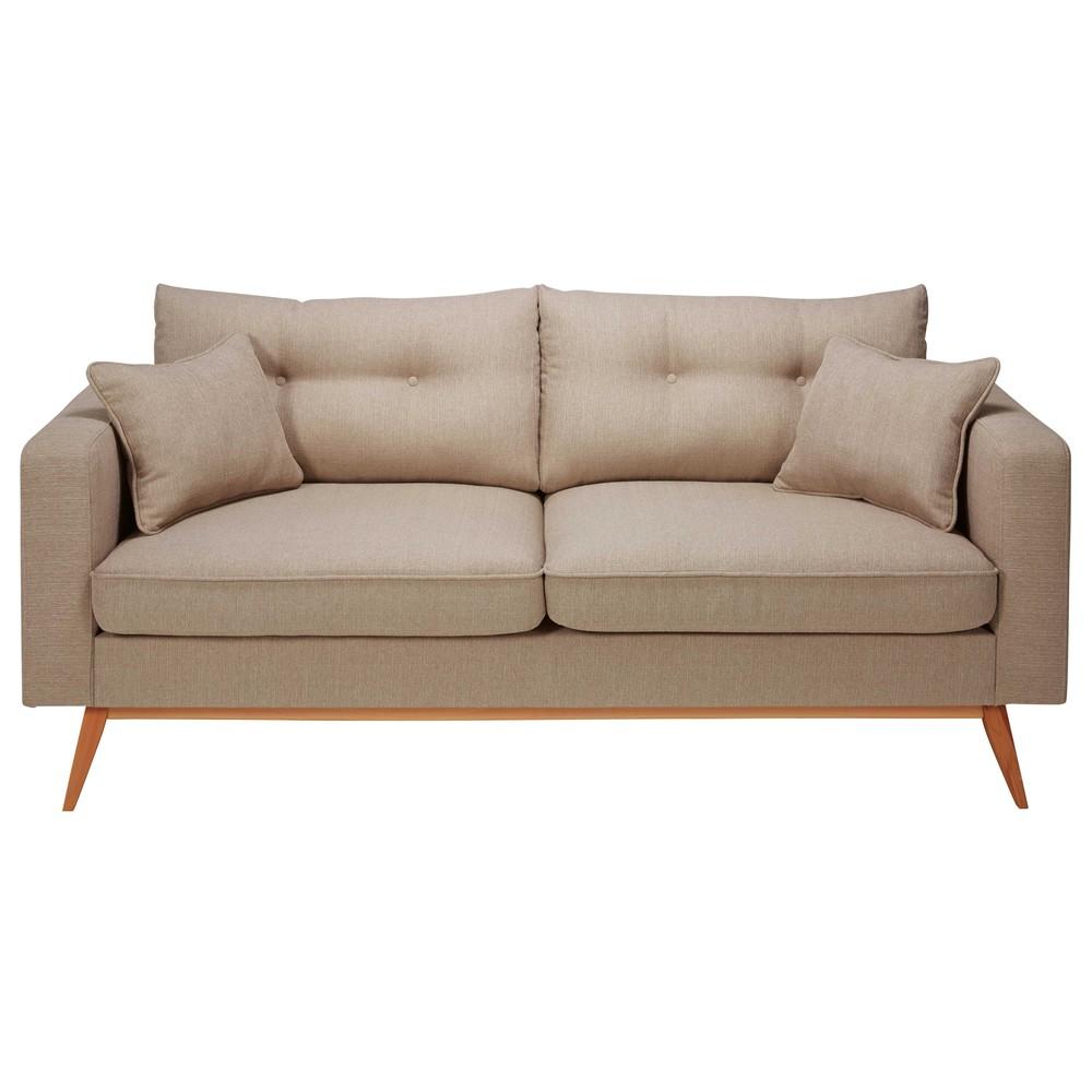 canap 3 places en tissu beige chin brooke maisons du monde. Black Bedroom Furniture Sets. Home Design Ideas