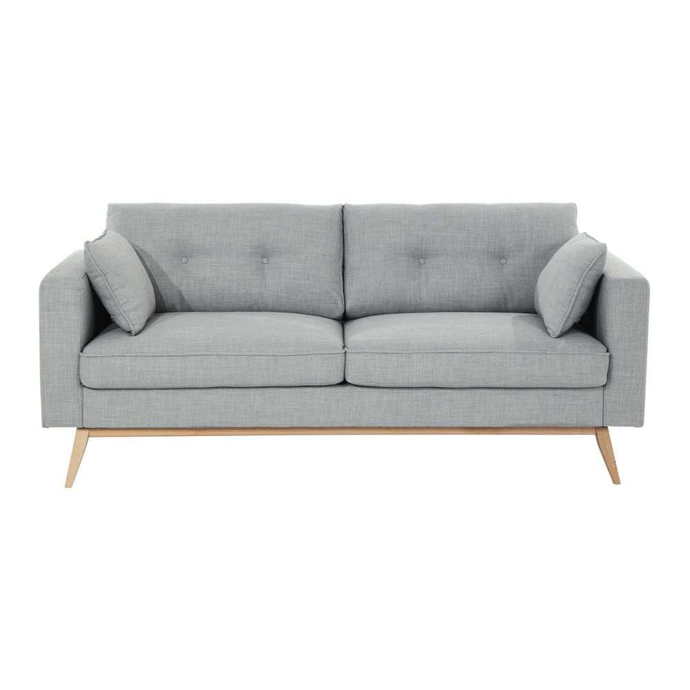 Canape 3 places en tissu gris clair brooke maisons du monde for Canapé 3 places pour deco chambre garcon ado