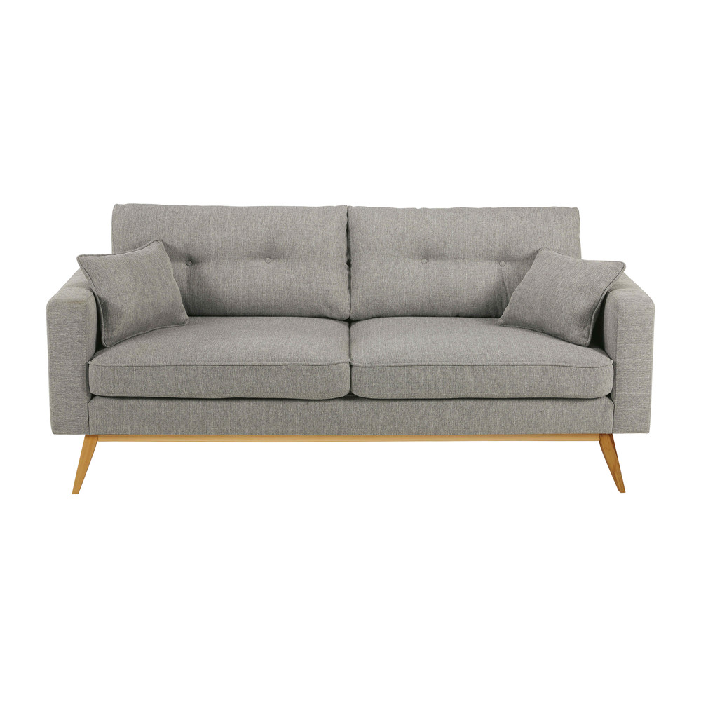 Canap 3 places en tissu gris clair brooke maisons du monde for Canape 3 places but