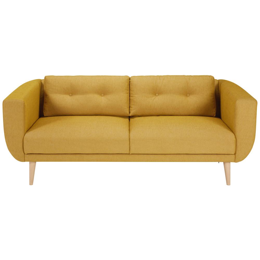 Canap 3 places en tissu jaune moutarde gaby maisons du for Canape tissu 3 places