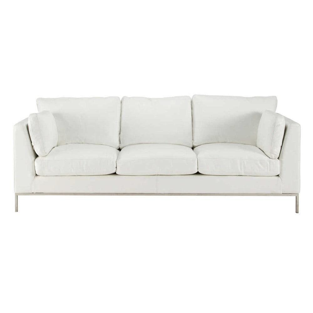 Canap 3 places fixe cuir blanc san francisco maisons du for Monsieur meuble canape cuir blanc
