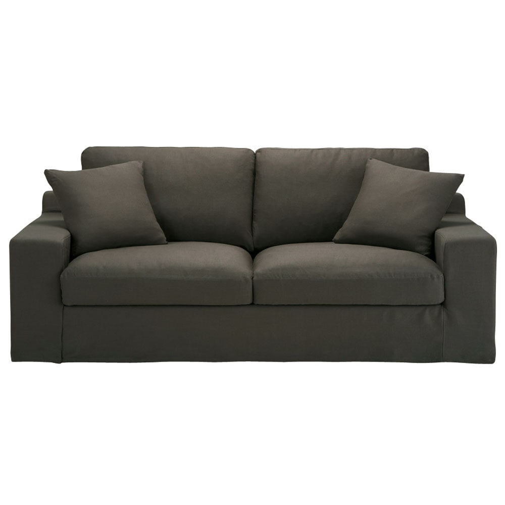 canap 3 places fixe lin taupe gris stuart maisons du monde. Black Bedroom Furniture Sets. Home Design Ideas