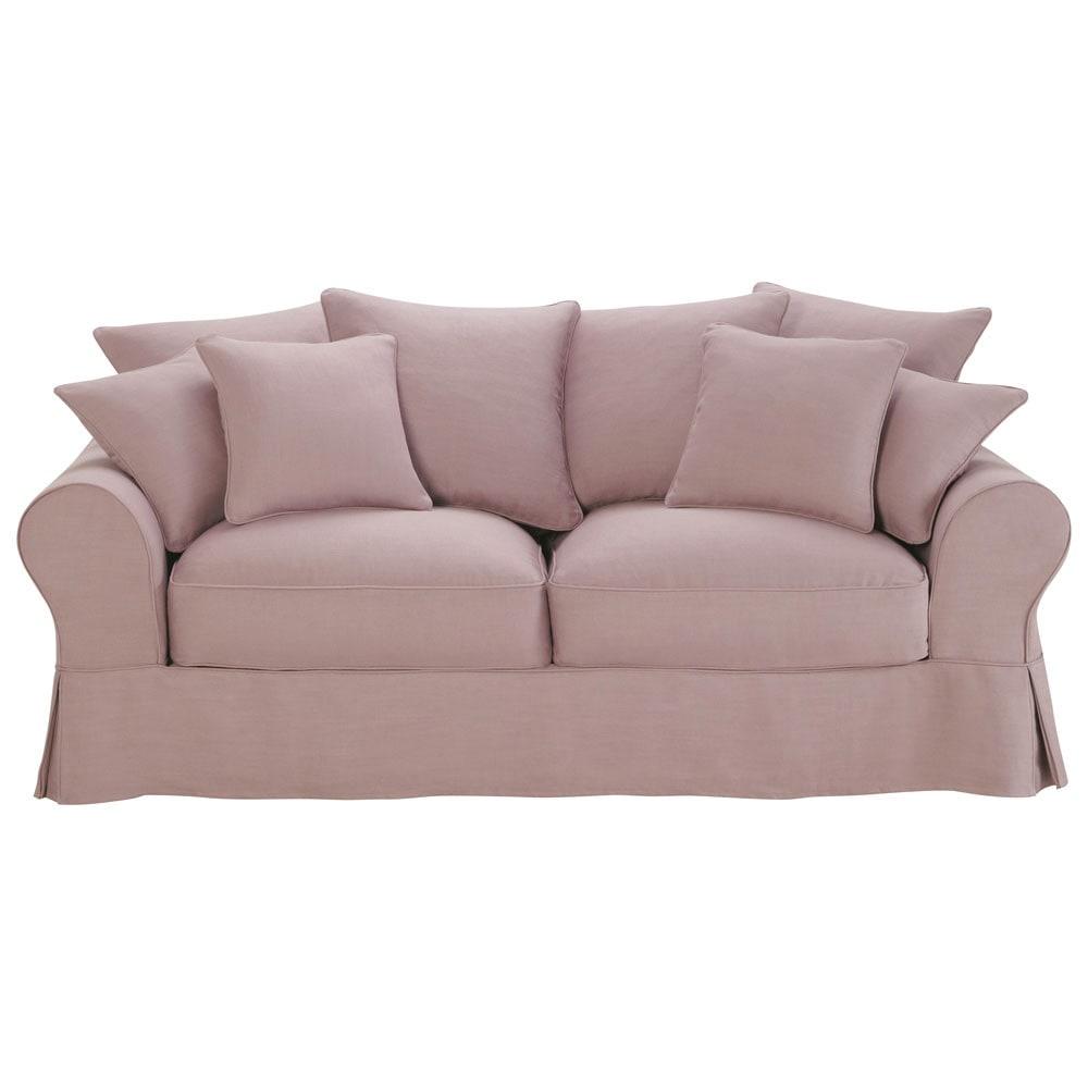 canap 3 places fixe lin vieux mauve bastide maisons du monde. Black Bedroom Furniture Sets. Home Design Ideas