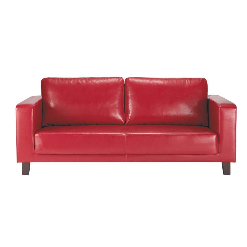 Canap 3 places imitation cuir rouge nikeo maisons du monde for Canape imitation cuir vieilli
