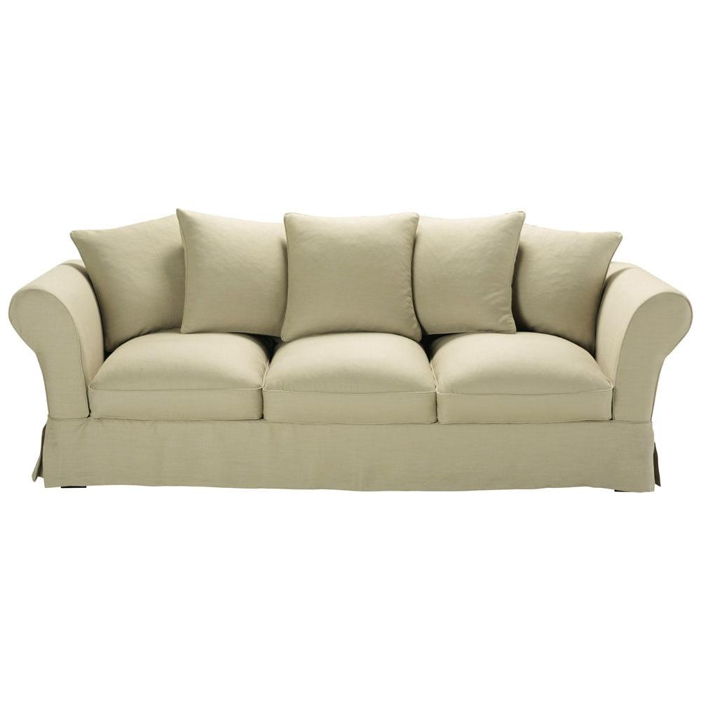 canap 4 5 places en lin beige roma maisons du monde. Black Bedroom Furniture Sets. Home Design Ideas