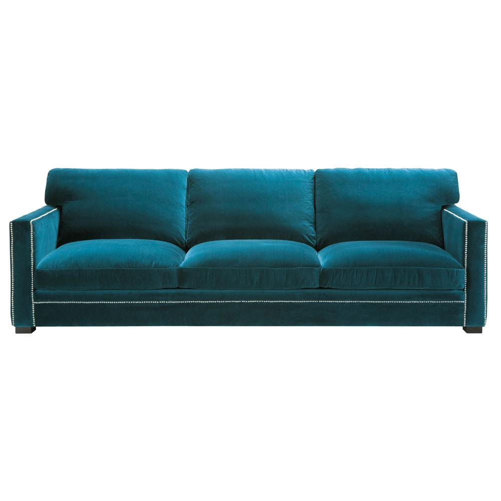 Canap 4 5 places en velours bleu dandy maisons du monde for Canape en velour