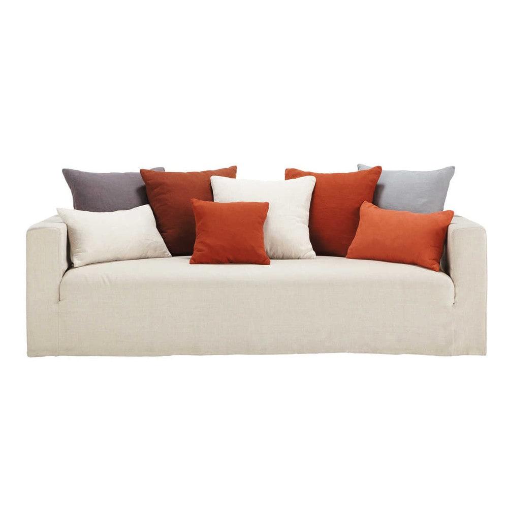 canap 4 5 places fixe lin coussins rouges louvain maisons du monde. Black Bedroom Furniture Sets. Home Design Ideas