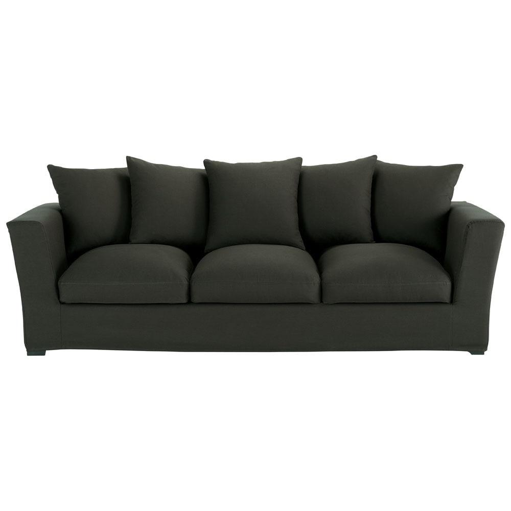 canap 4 places en coton anthracite bruxelles maisons du monde. Black Bedroom Furniture Sets. Home Design Ideas