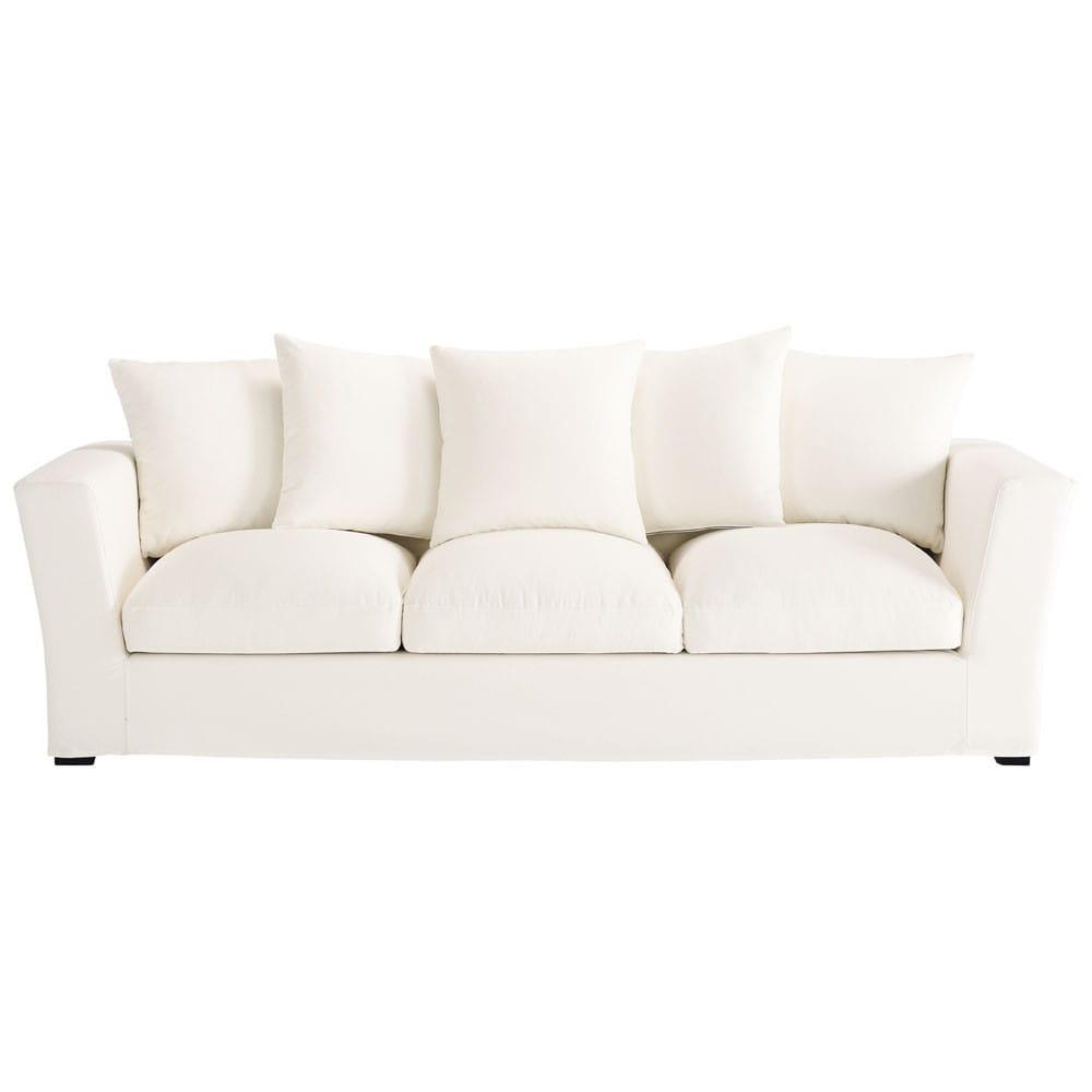 canap 4 places en coton ivoire bruxelles maisons du monde. Black Bedroom Furniture Sets. Home Design Ideas