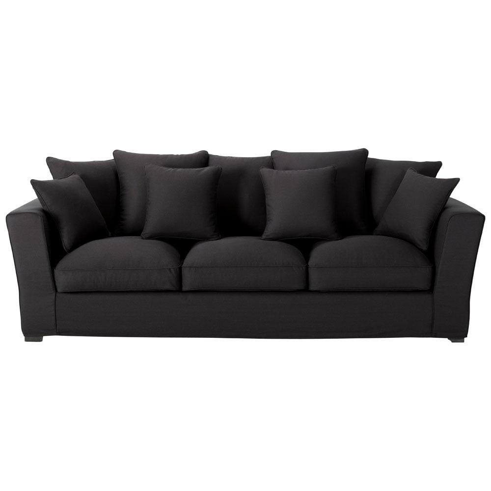 canap 4 places fixe coton noir balthazar maisons du monde. Black Bedroom Furniture Sets. Home Design Ideas