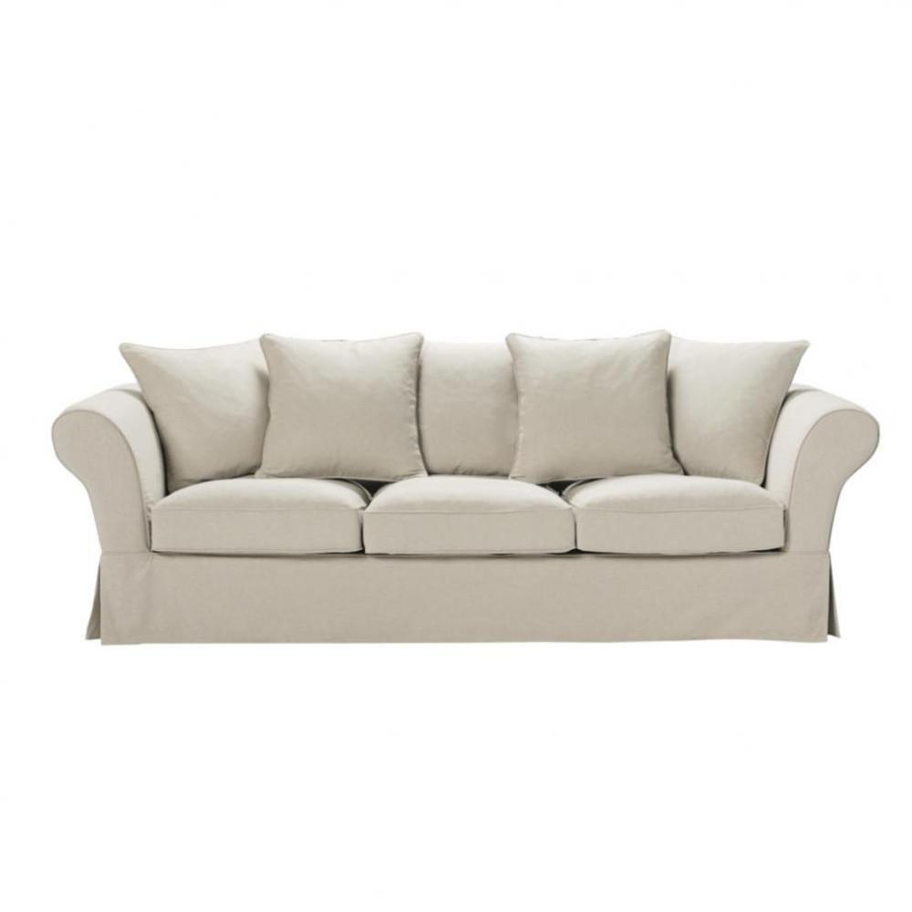 canap 4 places fixe lin roma maisons du monde. Black Bedroom Furniture Sets. Home Design Ideas