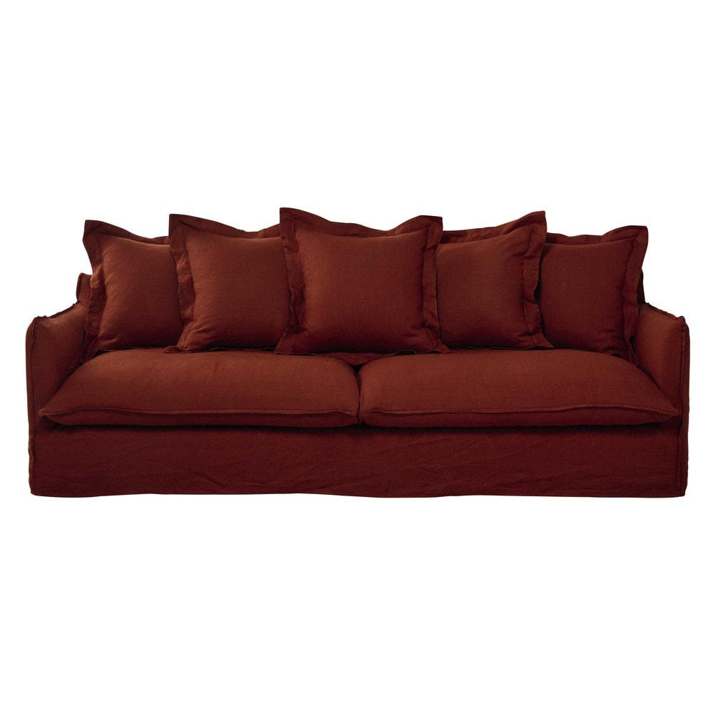 canap 5 places en lin lav rouge brique barcelone maisons du monde. Black Bedroom Furniture Sets. Home Design Ideas
