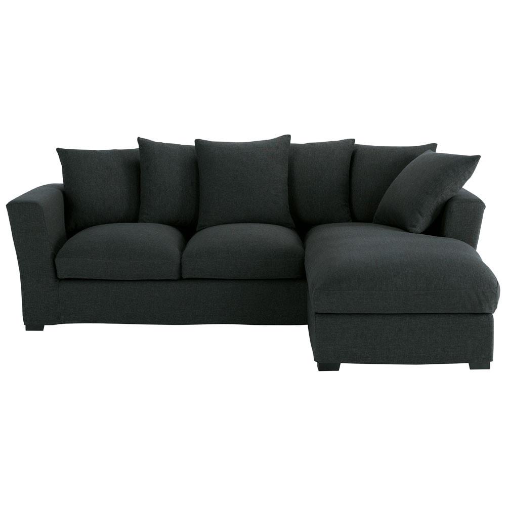 canap angle 5 places convertible m ridienne droite anthracite bruxelles maisons du monde. Black Bedroom Furniture Sets. Home Design Ideas