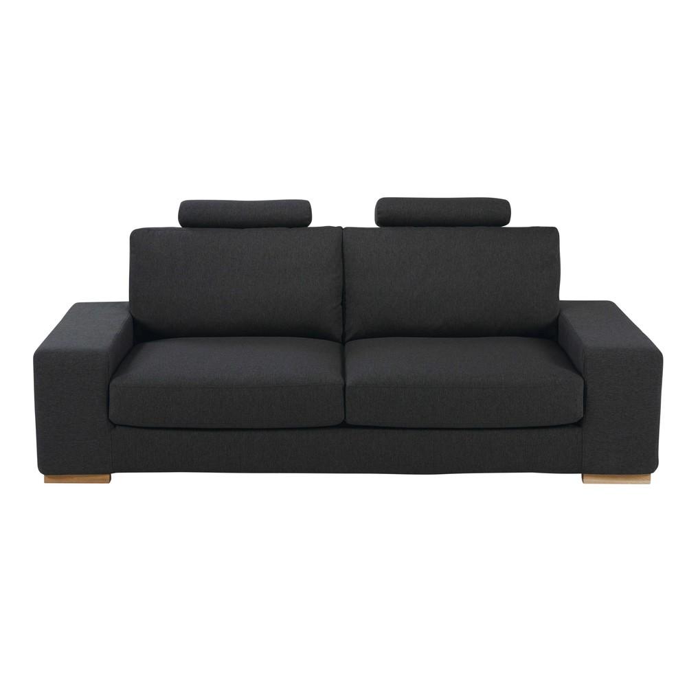 Canape avec tetieres 3 places en tissu anthracite daytona for Tapis design avec canapé mousse haute résilience
