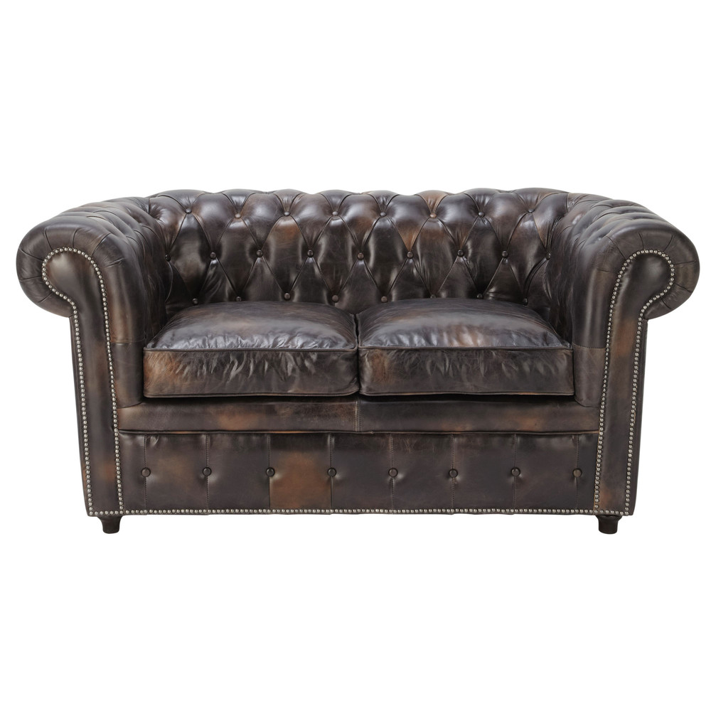 canap capitonn chesterfield 2 places en cuir marron moka vintage maisons du monde. Black Bedroom Furniture Sets. Home Design Ideas