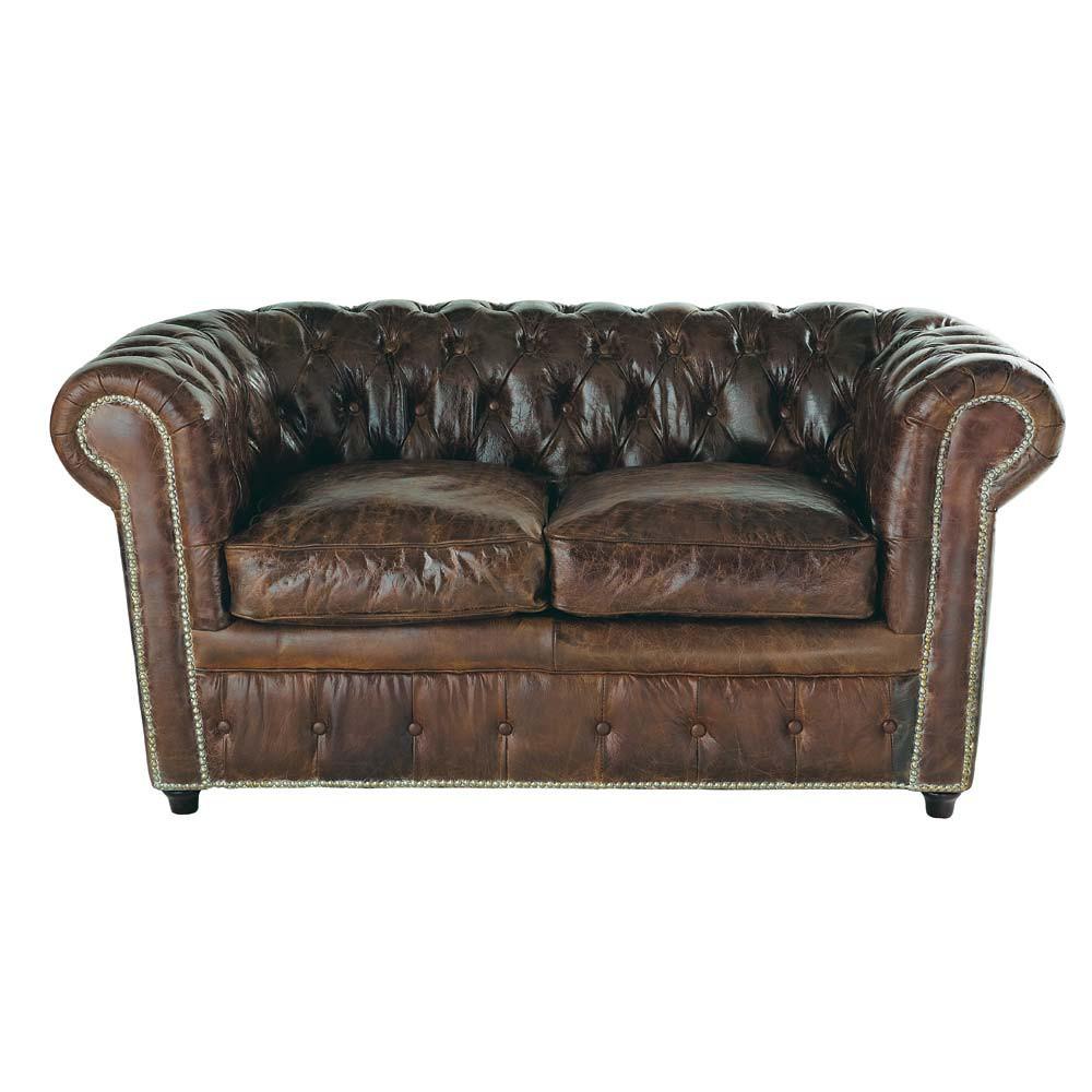 canap capitonn chesterfield 2 places en cuir marron vintage maisons du monde. Black Bedroom Furniture Sets. Home Design Ideas