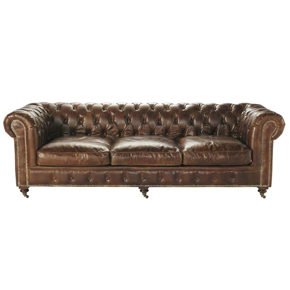 canap capitonn chesterfield 4 places en cuir marron. Black Bedroom Furniture Sets. Home Design Ideas
