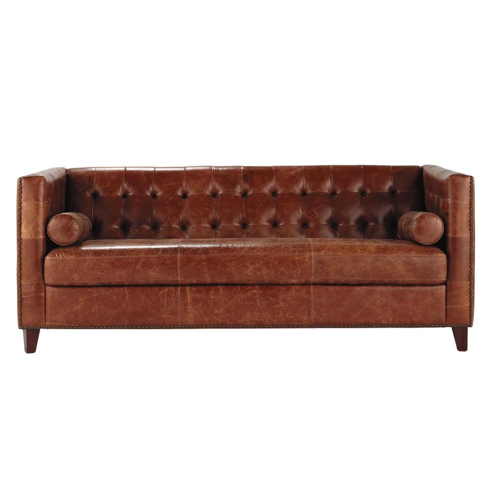 canap capitonn vintage 3 places en cuir marron garrett. Black Bedroom Furniture Sets. Home Design Ideas