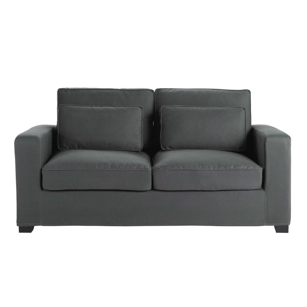 Canape convertible 2 3 places en coton gris ardoise milano for Canapé convertible maison du monde avec magasin de tapis
