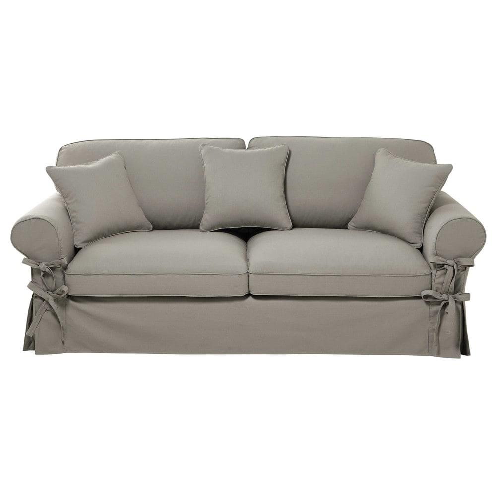 canap convertible 3 4 places en coton gris clair matelas. Black Bedroom Furniture Sets. Home Design Ideas